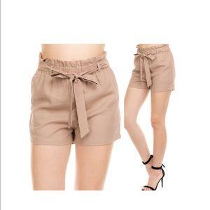 Comfy Khaki Linen Shorts